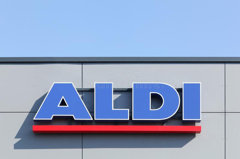 Aldi sign on a wall royalty free stock photography