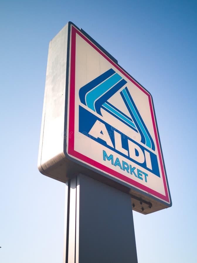 Aldi Store logo on the pole royalty free stock image