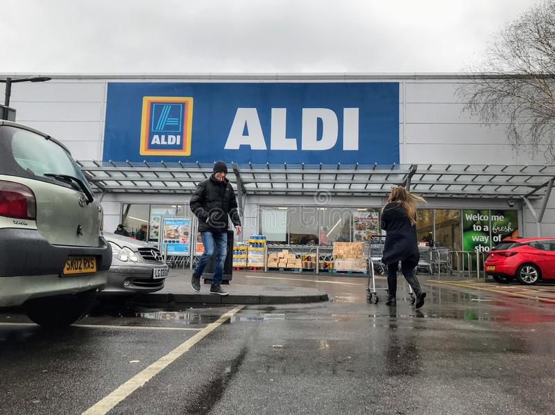 Aldi store. Aldi stylised as ALDI is the common brand of two German family owned discount supermarket chains with over 10,000 stores in 20 countries, and an stock image