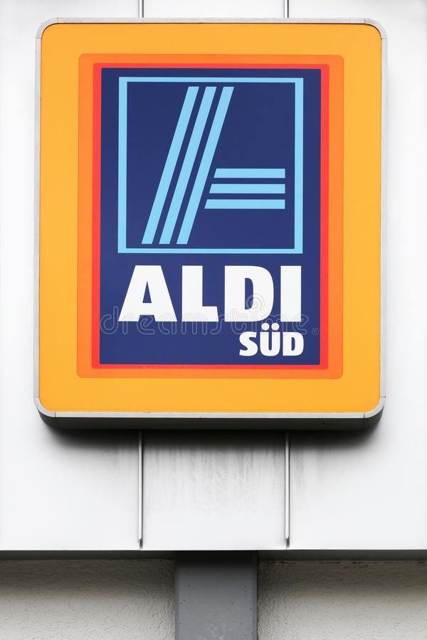 Aldi Sud logo on a wall royalty free stock images