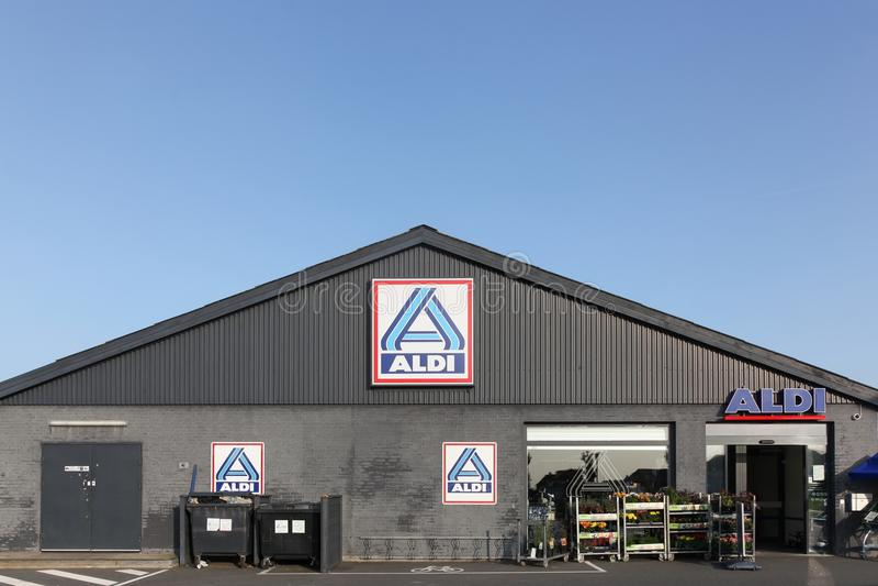 Aldi supermarket in Denmark royalty free stock photography