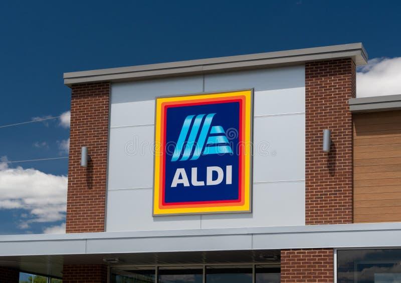 Aldi-Supermarktzeichen lizenzfreies stockbild