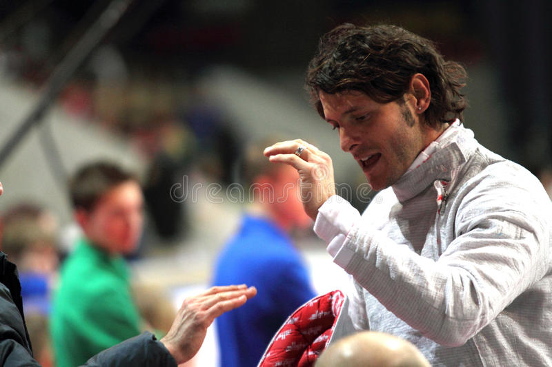 Aldo Montano. Italy's Aldo Montano compete at the 2010 RFF Moscow Saber World Fencing Tournament in Moscow, Russia stock photo