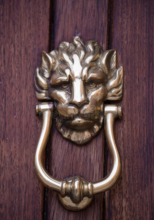 Aldrava de porta principal do leão dourado velho do ferro em uma porta de madeira Mdina, Malta foto de stock