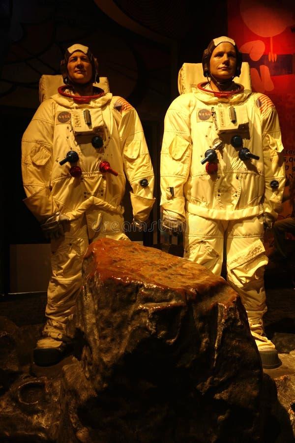 Aldrina y Neil Armstrong Wax Figures del zumbido fotos de archivo libres de regalías