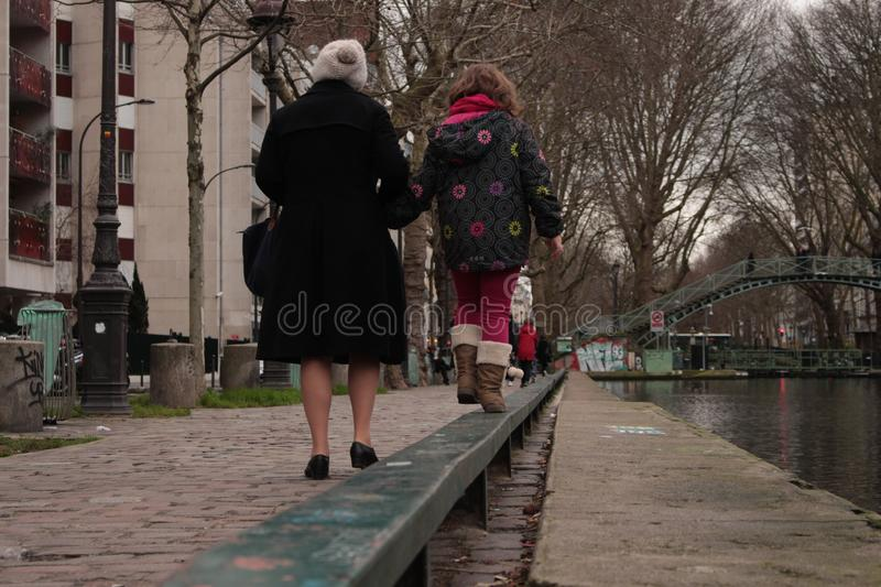 Hand in Hand by the Canal royalty free stock photo