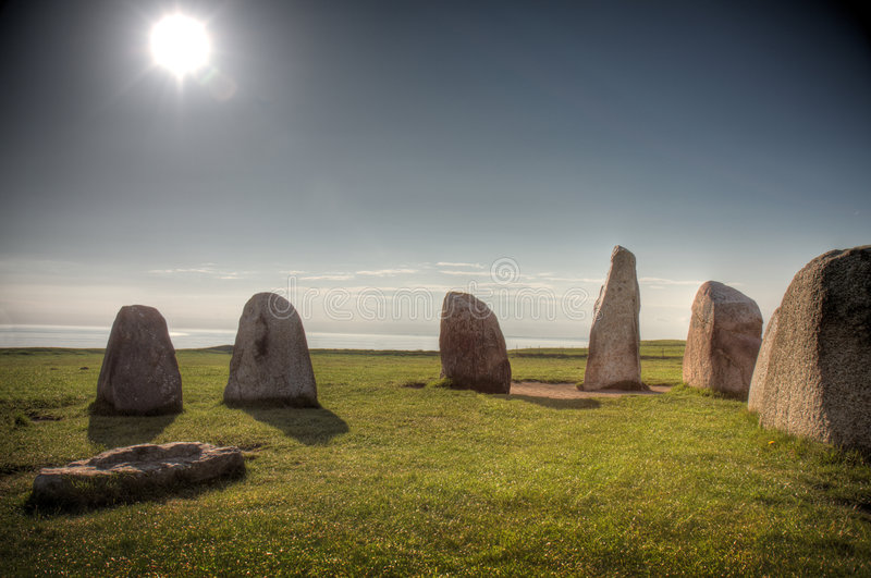 Ale's stones (Ales Stenar). Historic site in Skane (Sweden royalty free stock image