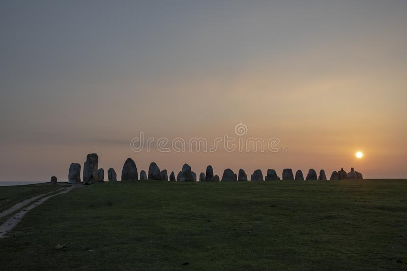 Ale Stenar megalithic monument in Sweden. Ale Stenar megalithic monument in the south of Sweden royalty free stock photos