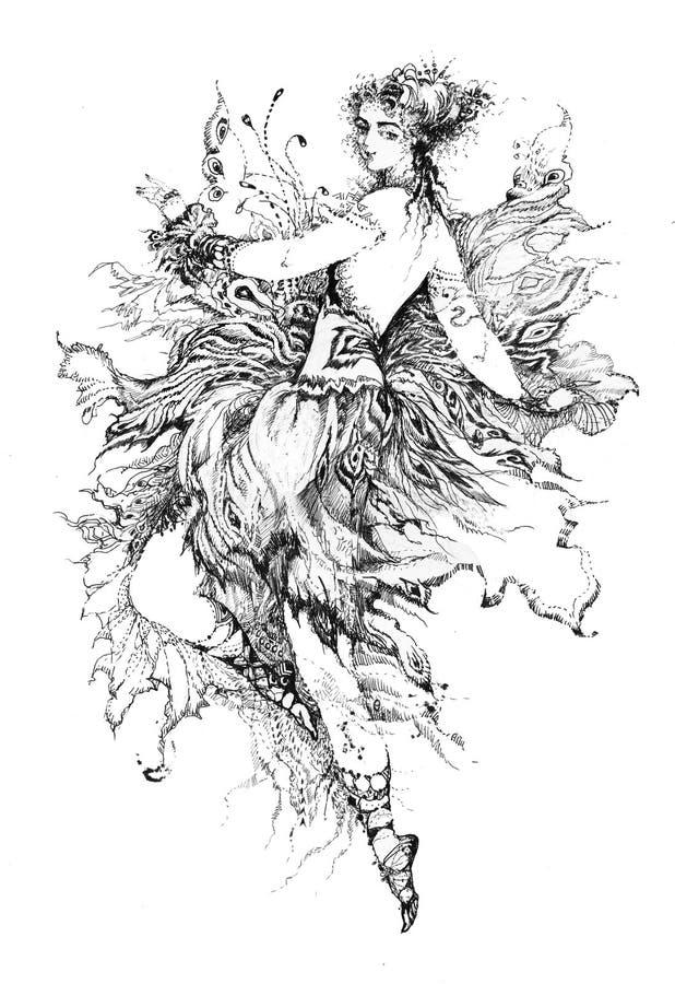 Alegoría de la mariposa stock de ilustración
