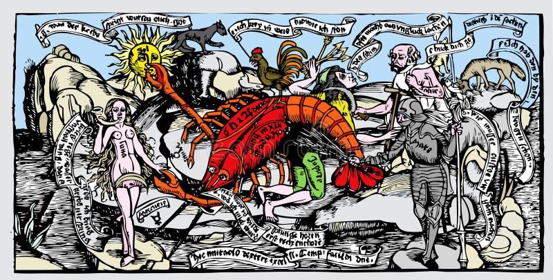 Alegoria dos planetas ilustração royalty free