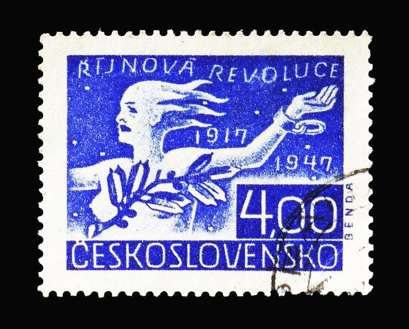 Alegoria revoluce, rosjanina Października rewolucja, 30th rocznica obraz royalty free