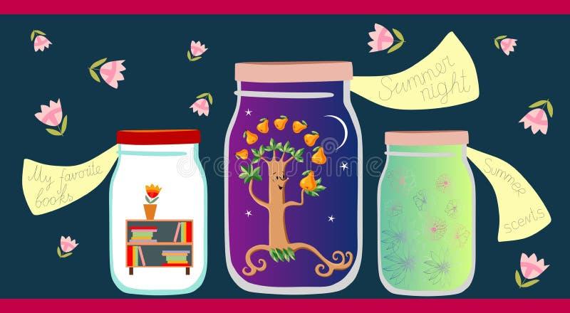 Alegoryczna wektorowa ilustracja Mój faworyt rezerwuje, lato noc i lat perfumowania w szklanych słojach royalty ilustracja