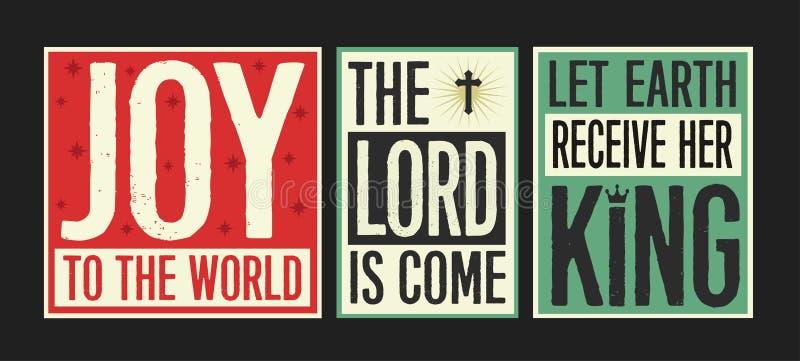 Alegría al cartel del vintage de las letras del mundo libre illustration