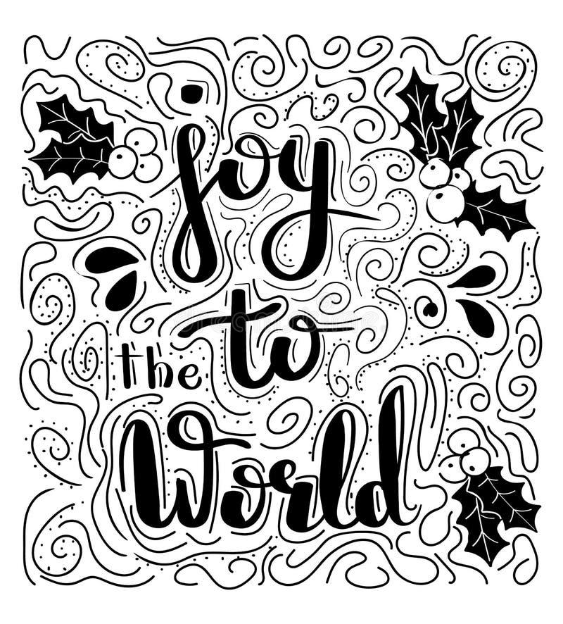 Alegría al mundo - ejemplo handdrawn Deseos manuscritos de la Navidad para las tarjetas de felicitación del día de fiesta Letras  ilustración del vector