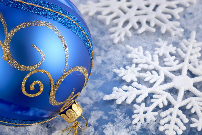 Alegría azul de la Navidad fotografía de archivo