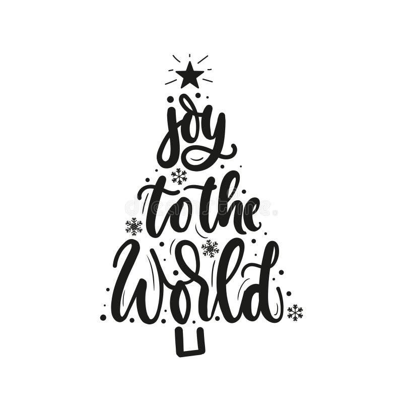 Alegría a la tarjeta de felicitación inspirada de la Navidad del mundo con las letras y el árbol de navidad Impresión de la Navid ilustración del vector