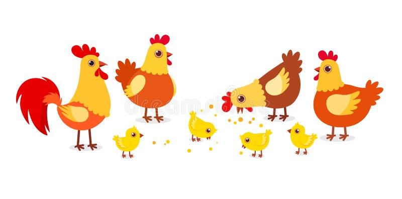 alegre granja de pollos adorables en la aldea ilustración del vector