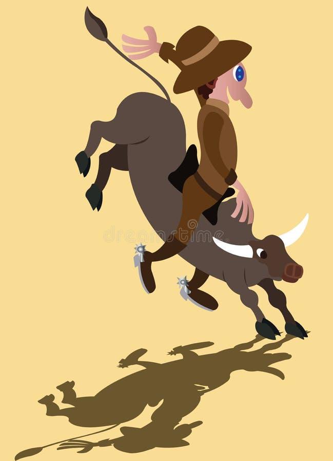 A alegria da equitação de Bull ilustração stock