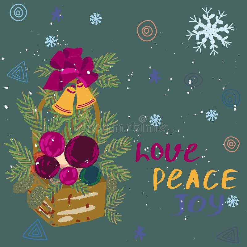 Alegria da paz do amor da nota com a cesta e neve festivas da estação ilustração royalty free