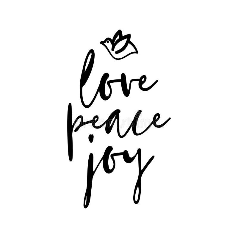 Alegria da paz do amor - texto do cartão ilustração do vetor
