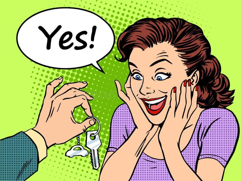 A alegria de compra da reação da mulher do carro fecha o presente ilustração royalty free
