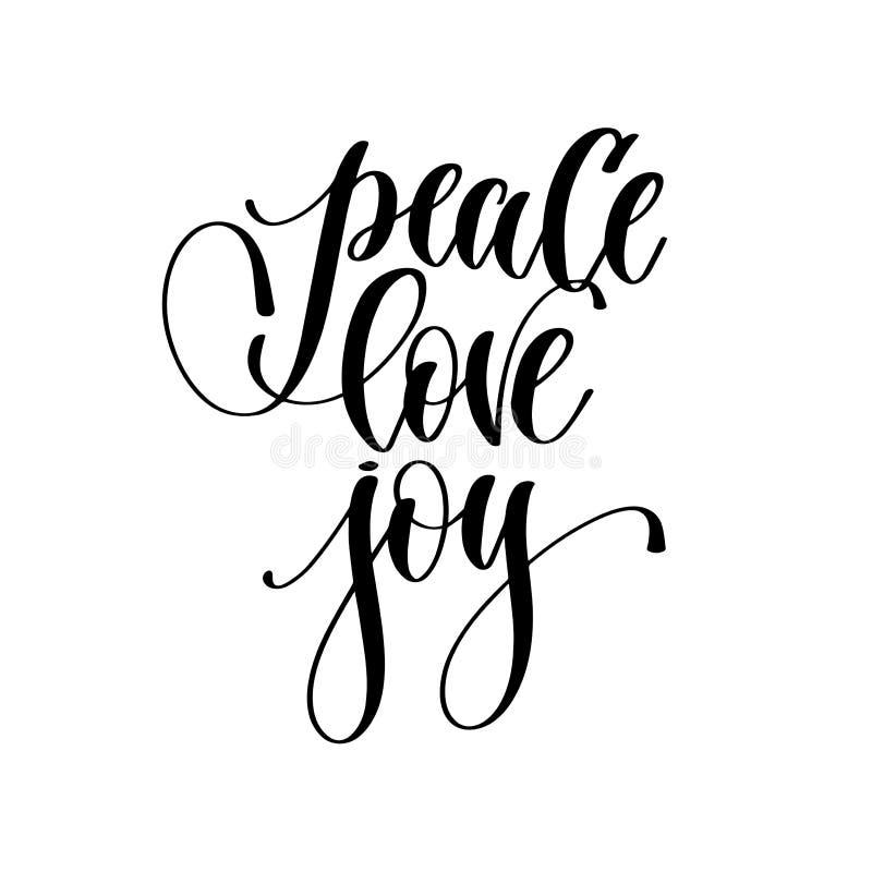 Alegria do amor da paz - entregue o texto da inscrição da rotulação ilustração royalty free