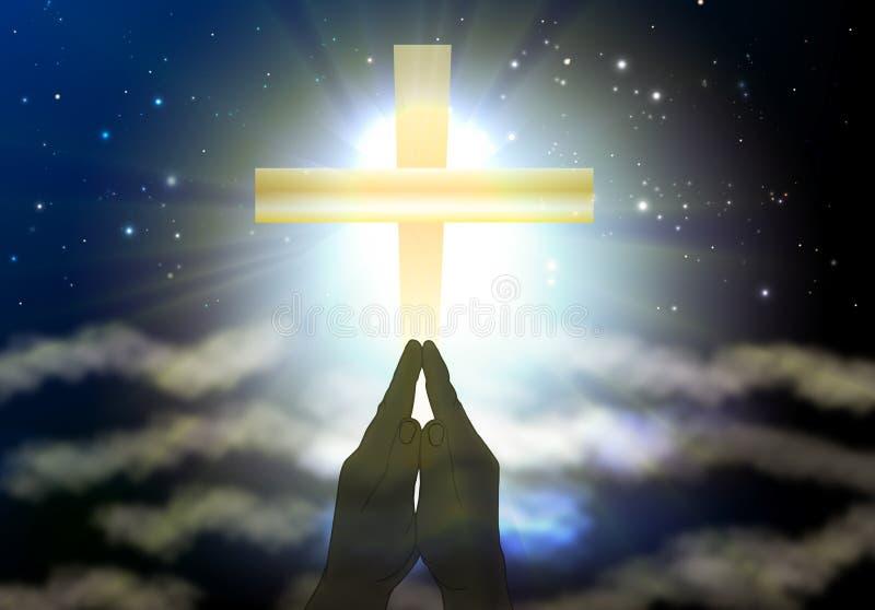 Alegria espiritual transversal santamente que reza ao deus ilustração stock