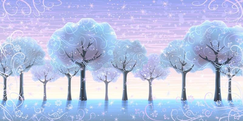 alei drzewa zima ilustracji