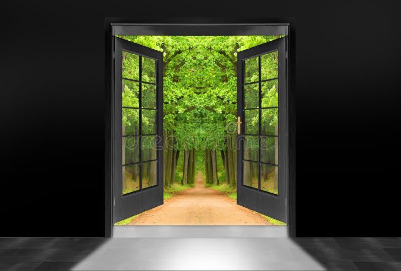 alei drzwi zieleni dąb otwierający obrazy royalty free