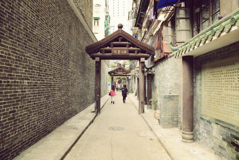Aleia da cidade, corredor na rua de China, pequena e estreita, estrada pequena, opinião urbana da rua do cenário de China imagem de stock