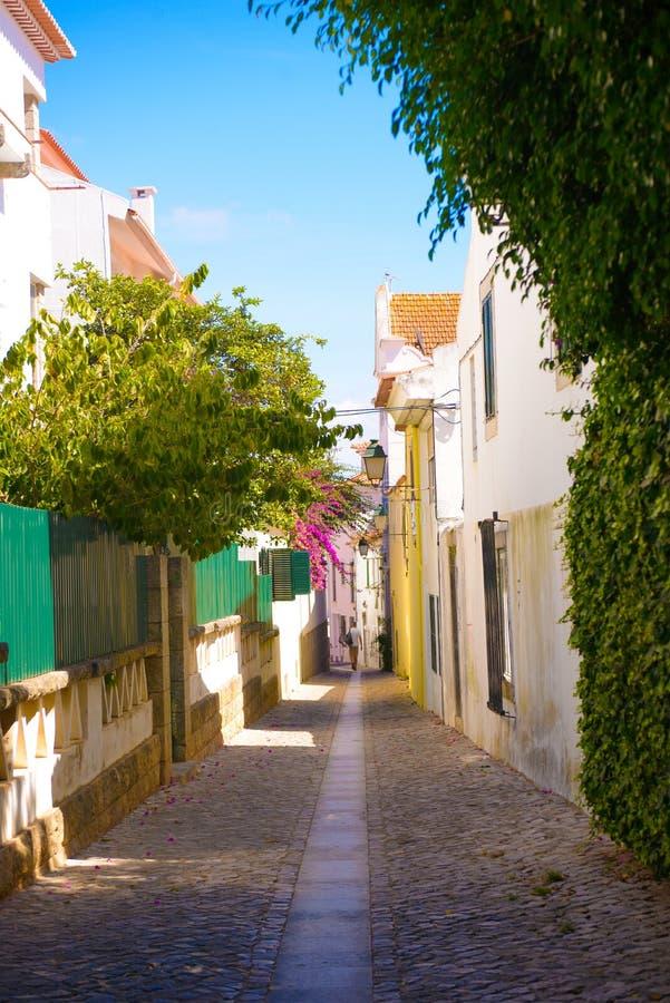 Aleia de Cascais, rua estreita de Oldtown, Sunny Summer Day, subúrbios de Lisboa fotos de stock royalty free