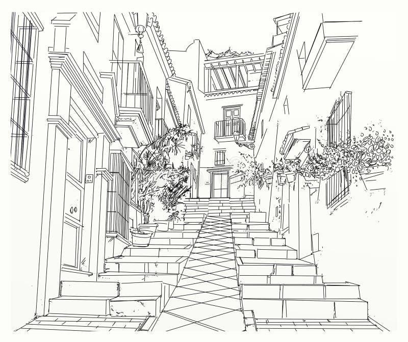 Aleia estreita na cidade ilustração royalty free