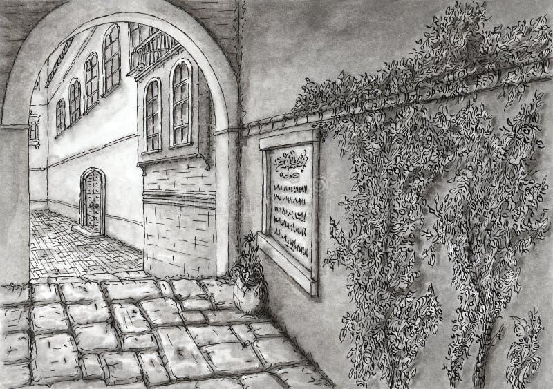 Aleia pavimentada mediterrânea antiga ilustração royalty free