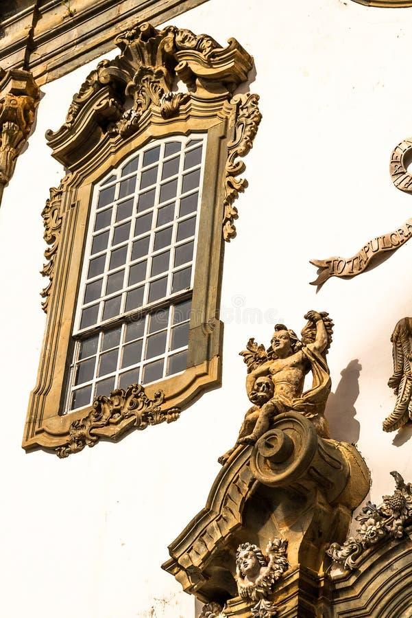 Aleijadinho, Sao Joao Del Rei, Brazil. Detail of the church Sao Francisco de Assis, in Sao Joao del Rei, Minas Gerais. Baroque sculptures made by the artist stock photo