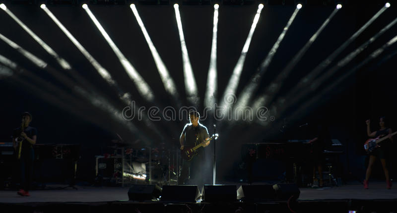 Alejandro Sanz on stage during her concert tour stock photos