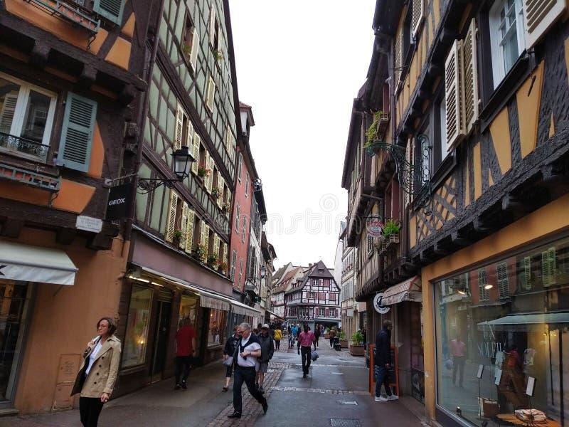 Aleje Colmar, Alsace, Francja obraz royalty free
