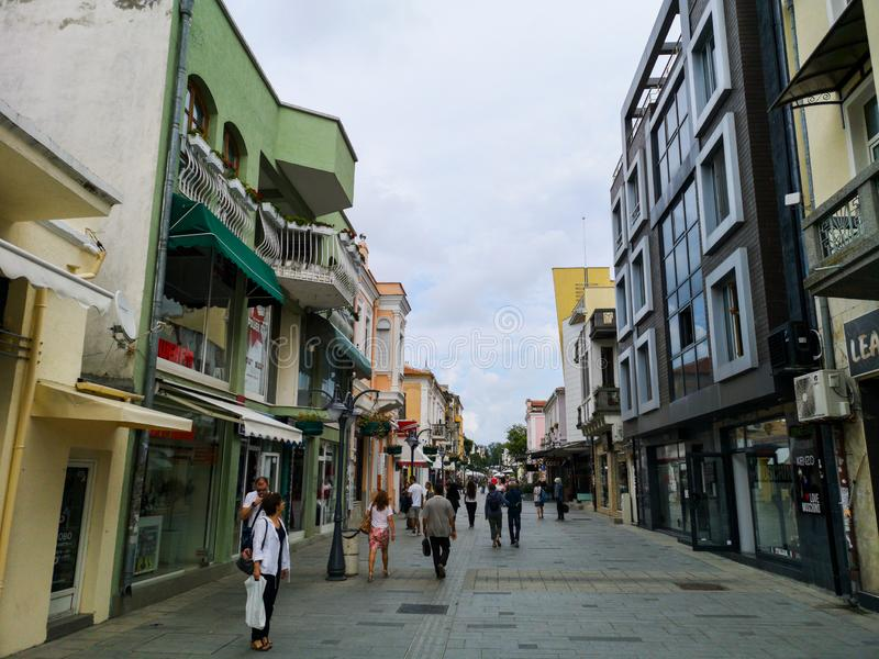 Aleko Bogoridi ulica, Burgas Bułgaria fotografia royalty free