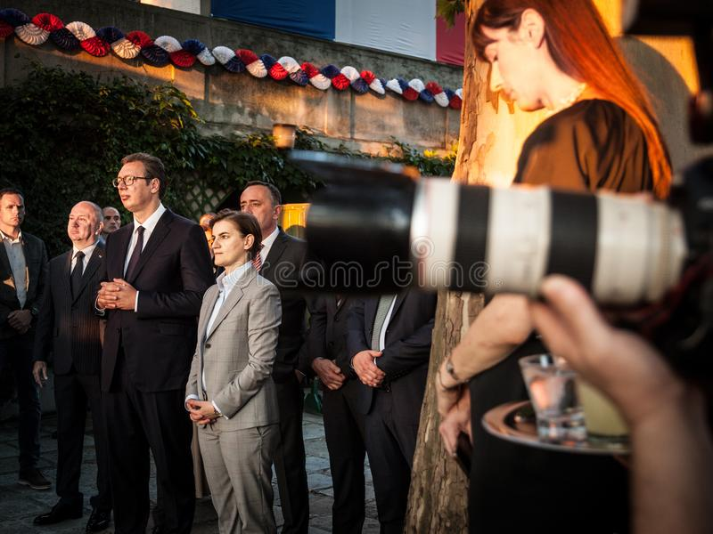 Aleksandar Vucic, President of Serbia, and Ana brnabic, prime minister, standing at the French embassy. Picture of Aleksandar Vucic, president of the Republic of stock image