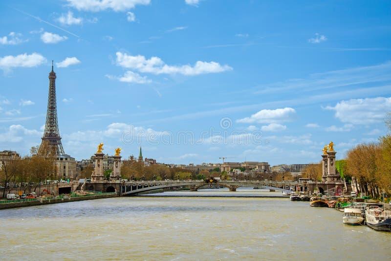 Aleksander most nad rzecznym wontonem w Paryż obrazy stock