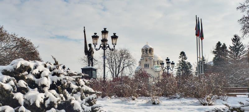Aleksander Nevski大教堂冬天索非亚保加利亚 库存照片