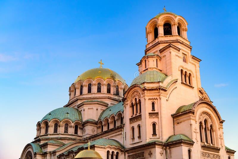 Aleksander Nevski cathedral. At sunset with blue sky, Sofia, Bulgaria, Europe royalty free stock photography