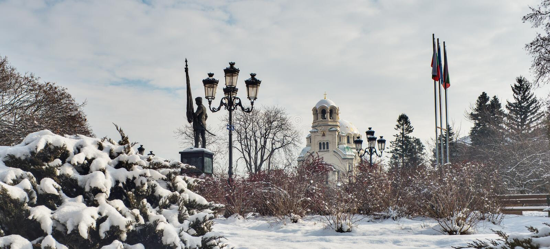 Aleksander Nevski Cathedral Winter Sofia Bulgaria foto de archivo