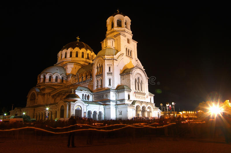 Aleksander Nevski Church. The Aleksander Nevski church in Sofia, Bulgria during easter night. A beautiful scene with the people walking around it with candles royalty free stock photography