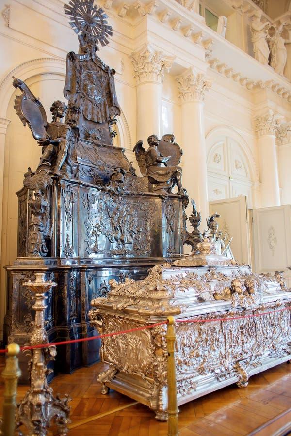 Aleksander nevskogo grobowcowi w sali muzealny kompleks erem w St Petersburg fotografia stock