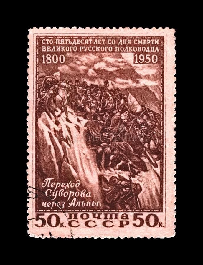 Aleksander Suvorov, sławny rosyjski militarny dowódca, marszałek, żołnierze krzyżuje Alps góry, USSR, około 1950 obrazy royalty free