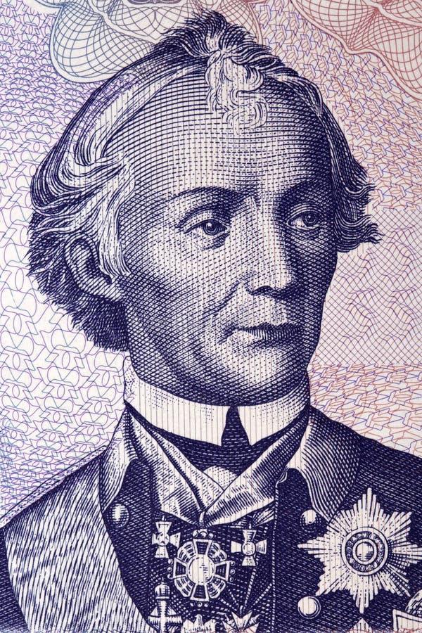 Aleksander Vasilyevich Suvorov portret od Transnistrian pieniądze zdjęcia stock