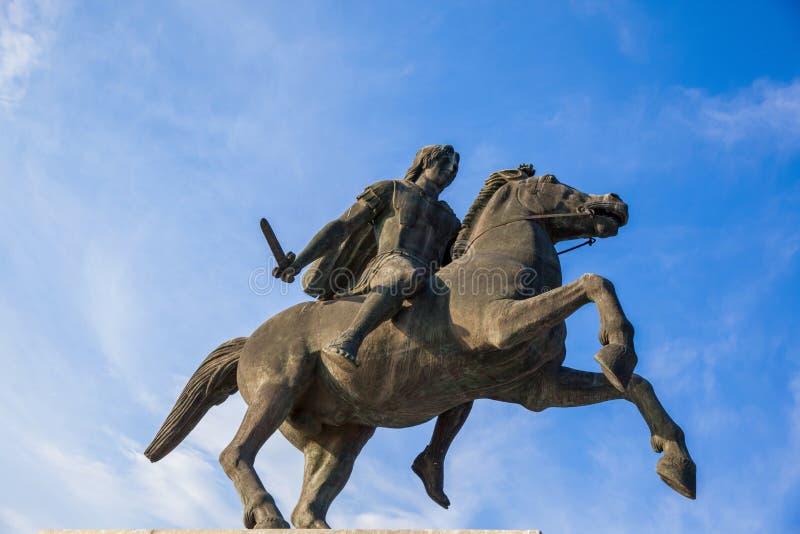 Aleksander Wielka statua w Saloniki, Grecja zdjęcie royalty free