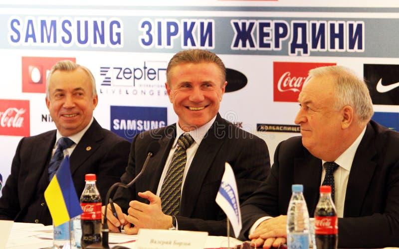 Aleksandr Lukianchenko, Sergey Bubka, Valery Borz imagens de stock