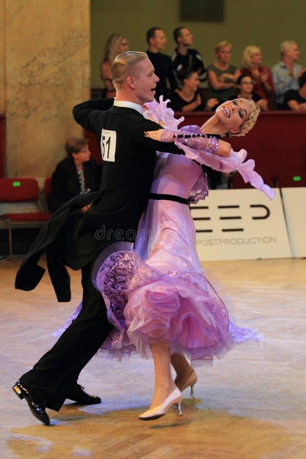 Aleksandra Fron and Kamil Kedra - standard dancing. Aleksandra Fron and Kamil Kedra from Poland in Prague Open 2013 standard dancing ballroom competition held in royalty free stock photos