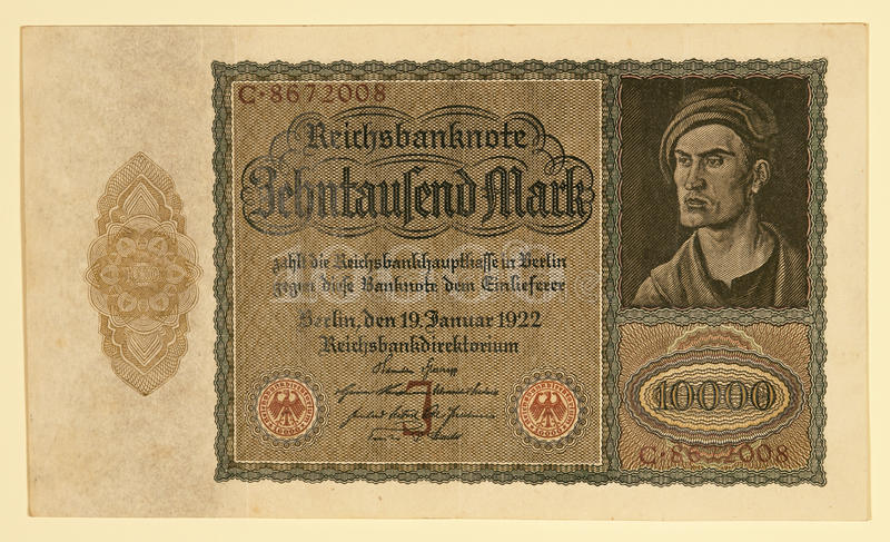 Alemão Y da antiguidade 1922 10000 marcos alemães imagens de stock royalty free